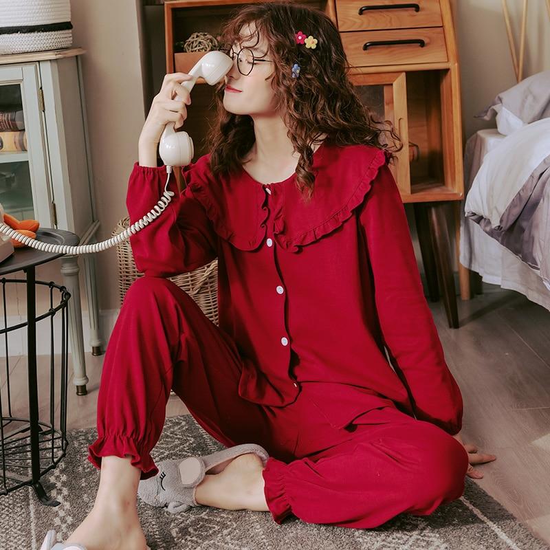Image 4 - Women Full Cotton Pajamas Wedding Festive Red Pajamas Sets Sleepwear Long Sleeve Top+Long Pants Pajamas Home Clothing PyjamasPajama Sets   -