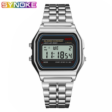 SYNOKE Women Men square Watch Gold ladies Retro LED G Digital Sports Wristwatche