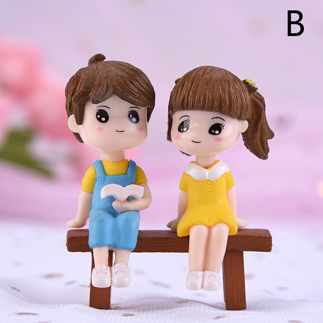 1/2Pieces Sweety Lovers Couple Chair Figurines Miniatures Fairy Garden Gnome Moss Terrariums Resin Crafts Home Decoration 6