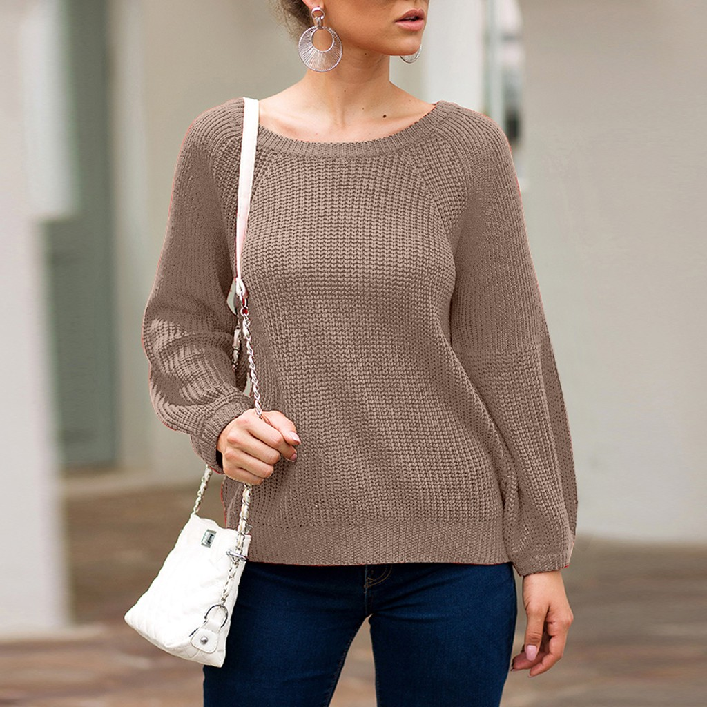 Women pullovers knitwear sweater Fashion Knitted Solid Long Sleeve O-Neck slim solid knitted jumpers 9.18