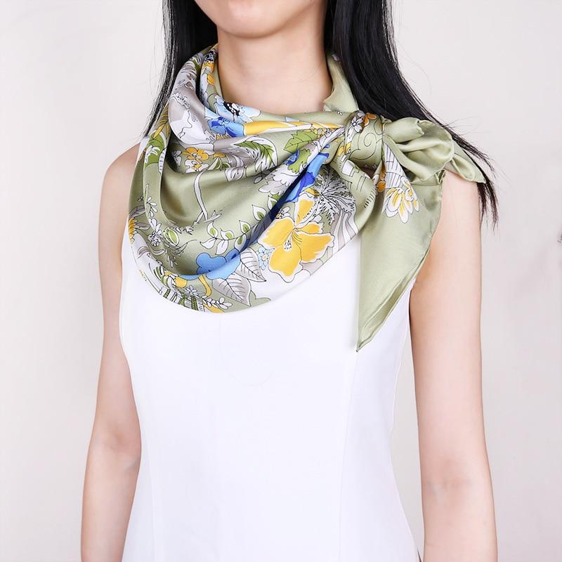 100% Twill Silk Scarf Hijab Shawl Women Floral Print Fashion Scarves Wraps 88*88cm