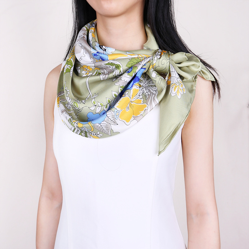 100% Twill Silk   Scarf   Hijab Shawl Women Floral Print Fashion   Scarves     Wraps   88*88cm