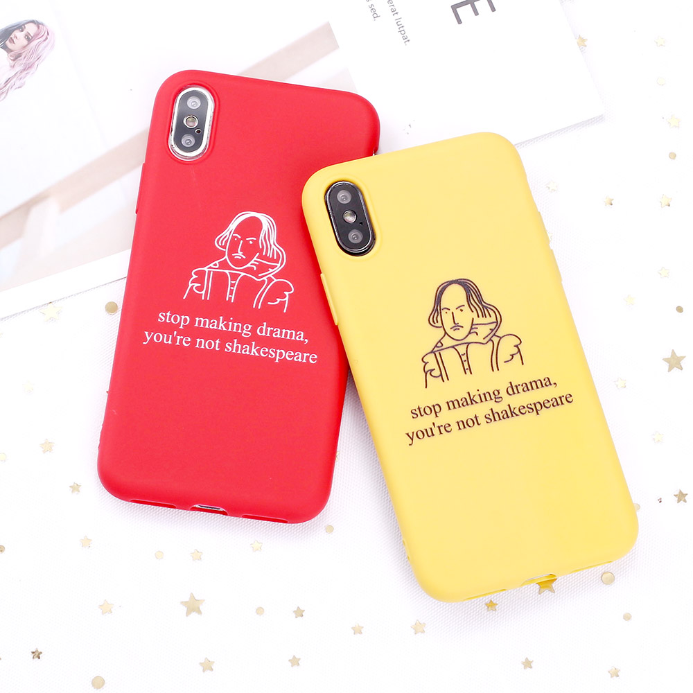 For 11 Pro 8 8Plus X XR 7 7Plus XS Max 6 6S 5 SE Drama Shakespeare Memes Candy Silicone Phone Case Coque Funda image