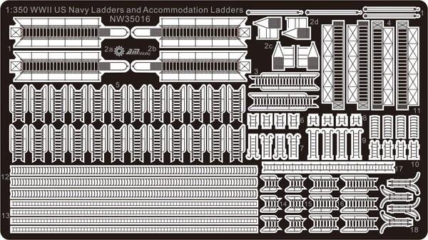 1/350 гравировальный лист WWII США, темно-синие лестницы и лестницы NW35016, наборы моделей, аксессуары