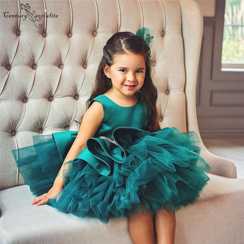 Puffy Green Ball Gowns   Flower     Girls     Dresses   2019 Scoop Bows Short   Girls   Birthday Party Gowns vestido comunion Cheap