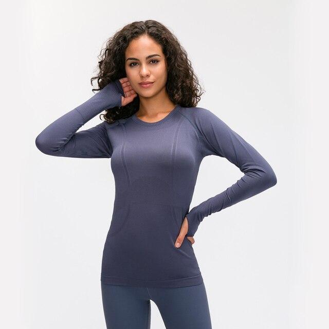 Nepoagym OCEAN Women Yoga Seamless Top Super Soft Long Sleeve Shirt Stretchy Workout Tops Sports Wear for Women Gym