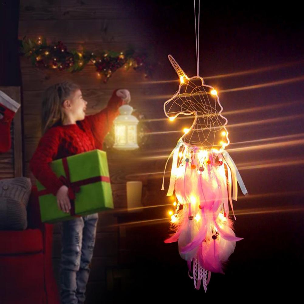 Unicorn Dream Catcher Led Hanging Lamp Woven Ornaments Hand-woven Night Light For Room Decoration Handmade Dreamcatcher