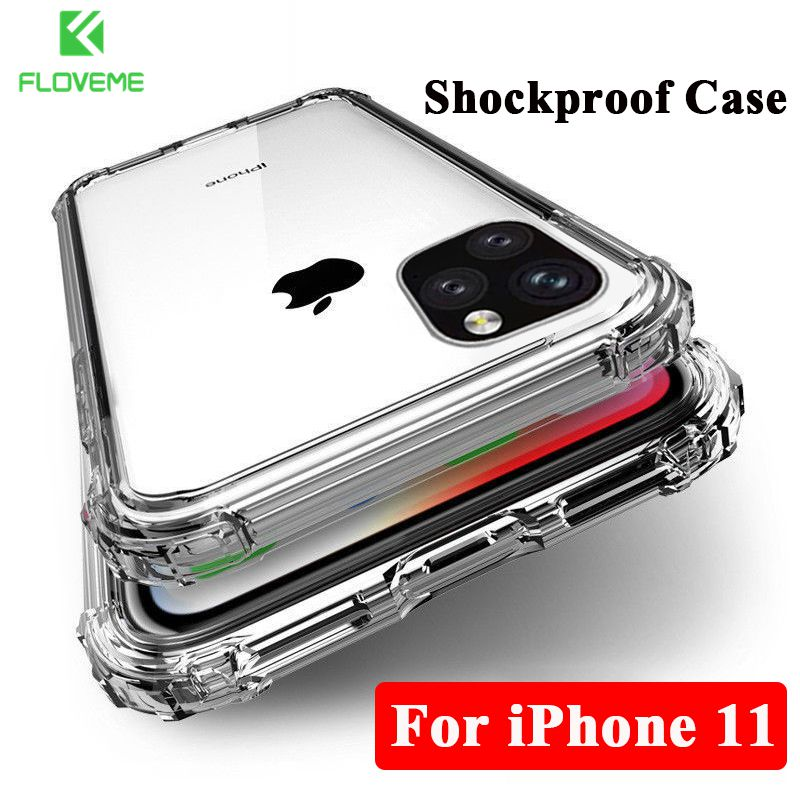 FLOVEME Funda de silicona transparente para iPhone 11 2019 en iPhone 11 Pro Max Ultra Thin Clear Soft TPU Funda para iPhone XR X X