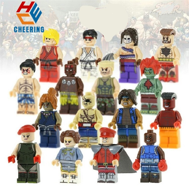 Single Sale Building Blocks Super Heroes Street Akuma Sagat Tunder Action Cammy Figures Bricks Toys For Children KF8016