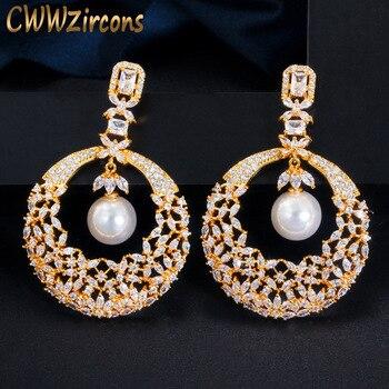 CWWZircons, pendientes dorados de lujo con flor hueca, Perla colgante, Zirconia cúbica chapada en oro de 18K, pendientes largos de boda para novias, fiesta CZ630