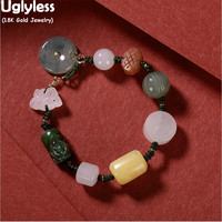 Uglyless Genuine AU750 Stamp 18K Gold Bracelets for Women Multi Precious Gemstones Rope Bracelets Natural Jade Amber Beeswax