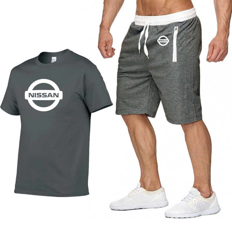 Mens Short Sleeve Nissan Car Logo Casual Summer Mens T Shirt Hip Hop TShirt High Quality Cotton T Shirts Pants Suit 2Pcs