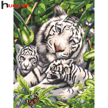 Huacan Diamond Painting Animal White Tiger 5D Diy Diamond Embroidery Forest Mosaic Home Art Wall Stickers