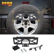 BAWA License Plate Holder for Wrangler JL Car Rear Spare Tire License Plate Mount Bracket for Jeep Wrangler JL 2018+
