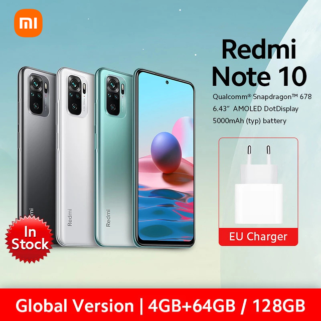 "Global Version Xiaomi Redmi Note 10 4GB RAM 64GB / 128GB ROM Mobile Phone Snapdragon 678 6.43"" AMOLED Display 48MP Quad Camera 1"