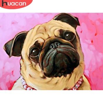 HUACAN, cuadro de perro hecho de diamantes con forma de Animal 5D, taladro completo, bordado artístico de diamantes, recién llegado, decoración para el hogar en venta