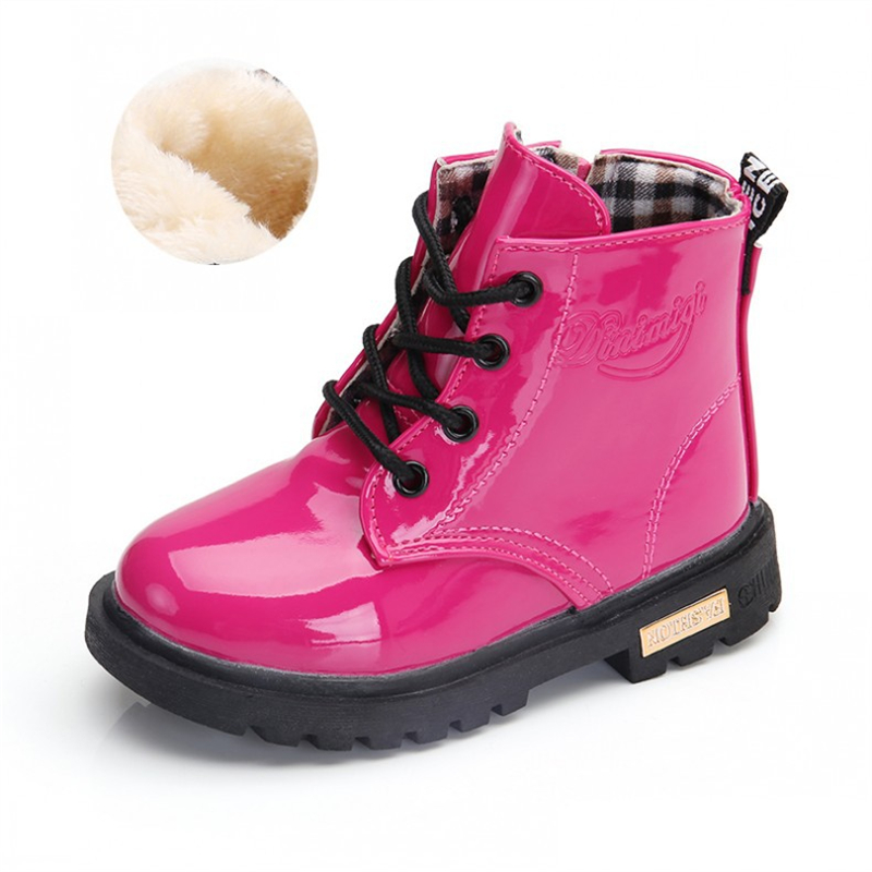 NEW 2020 Girls Leather Boots Boys Shoes Spring Autumn PU Leather Children Boots Fashion Toddler Kids Boots Warm Winter Boots 3BB 6