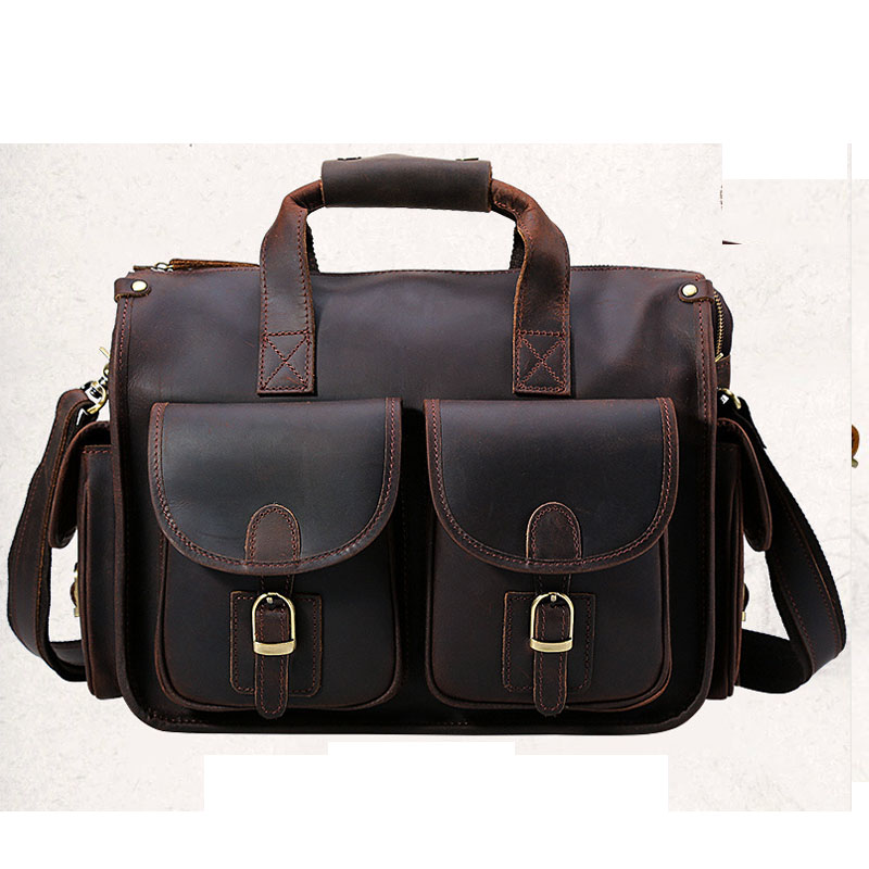 Men's Briefcase Genuine Leather Business Travel 14