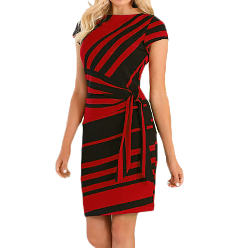 Office Ladies Working Summer Dresses Women Stripe Evening Party Pencil Dress Solid O-Neck Mini Bodycon Dresses With Belt Vestido