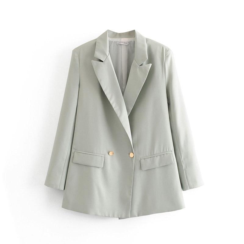 2019 Women Casual Gray Blazer Female Solid Vintgae Long Sleeve Blazer For Office Lady Single Button New Blazer Femme Jacket