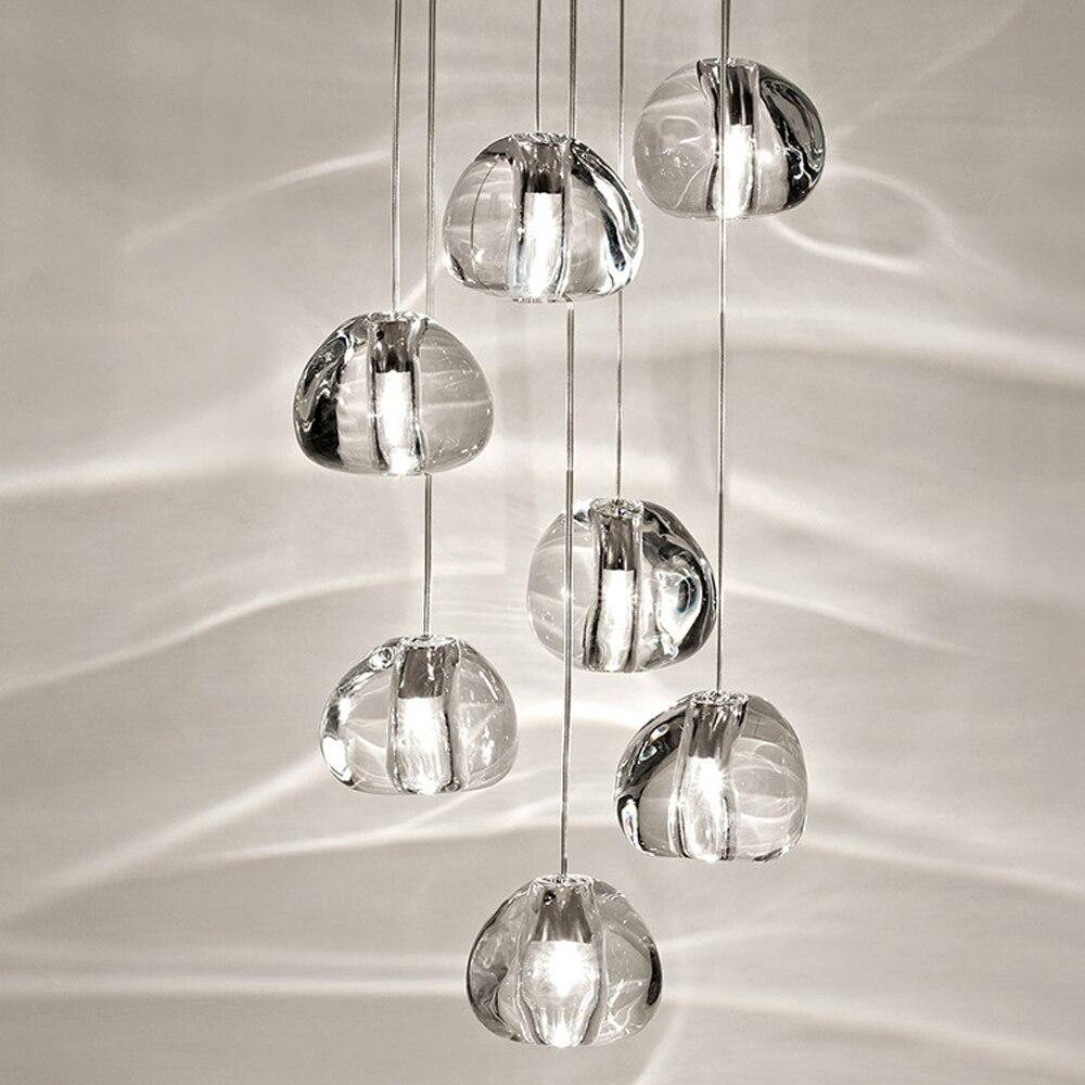 Nordic LED Pendant Lights Modern Hanglamp High Rotation Stair Lamps Crystal Balls Decoration Lighting Lustre Pendente