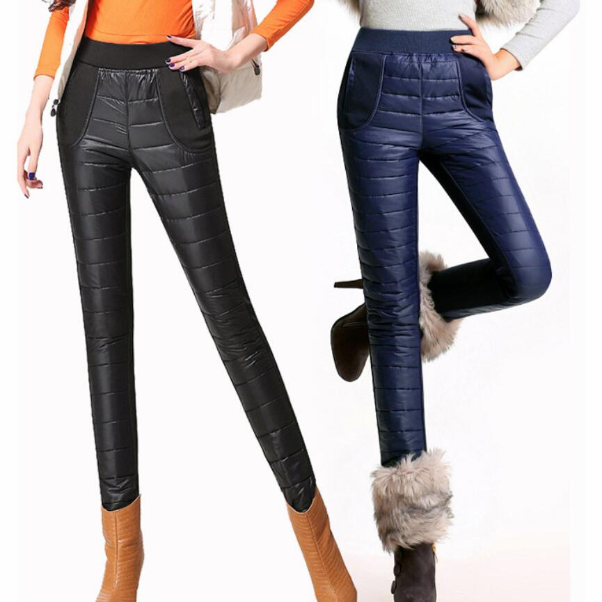 Warm Woman Down Pants Sports Winter Elastic Skinny Cut High Waist  White Duck Down Protection Skinny Pants
