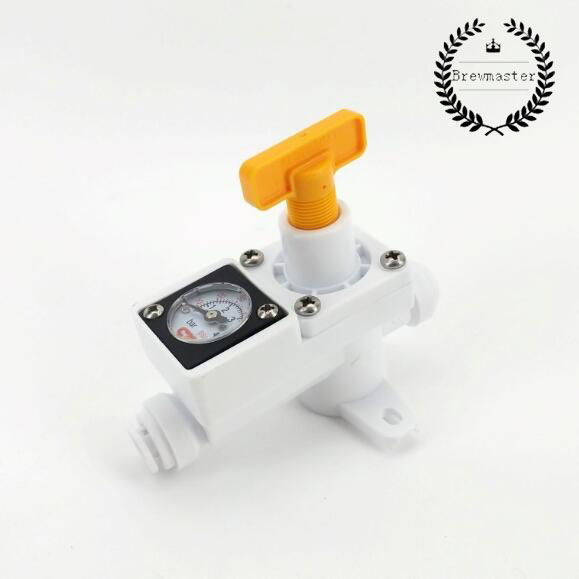 DUOTIGHT INLINE IN LINE REGULATOR - WITH INTEGRATED GAUGE FOR WATER OR GAS - 8MM (5/16
