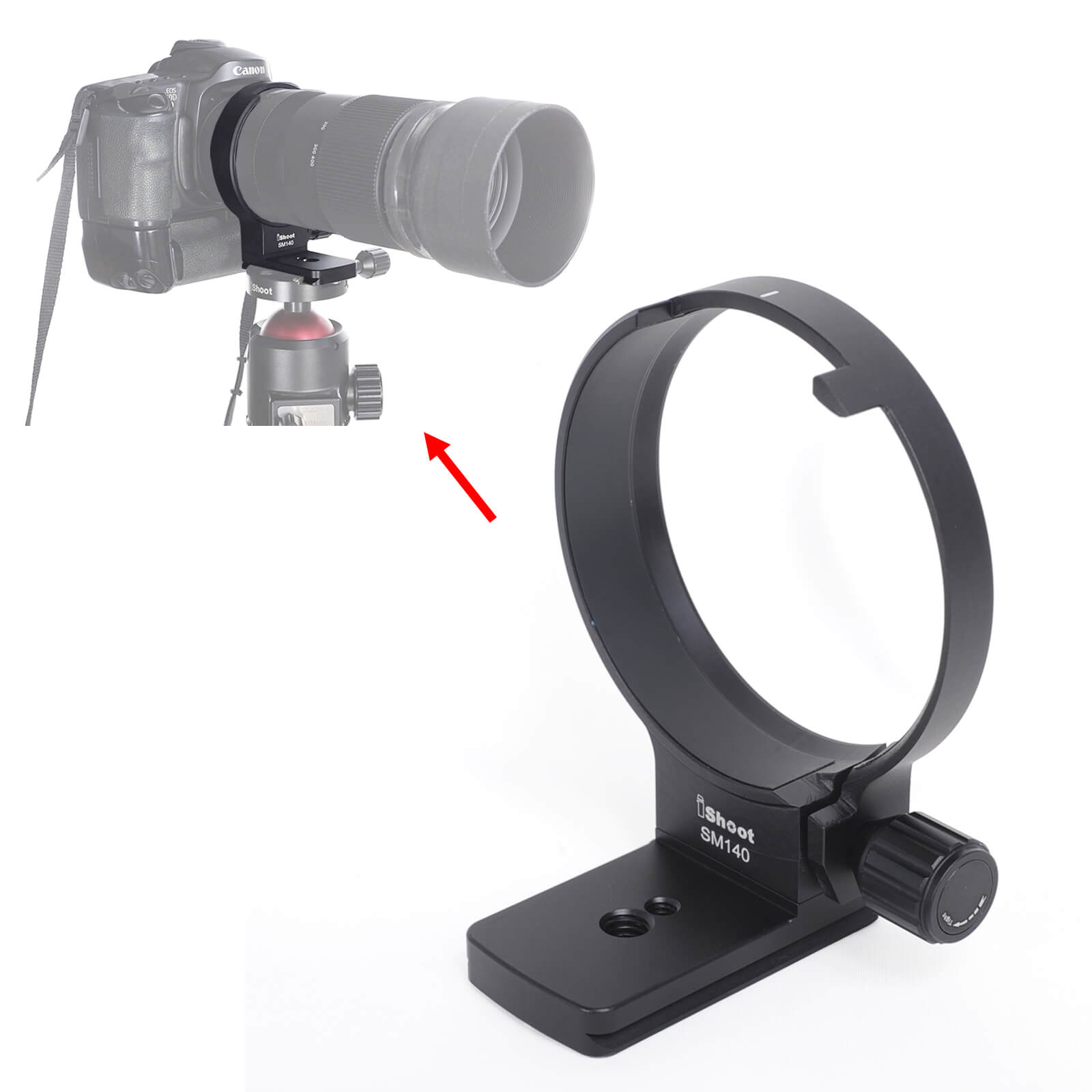 iShoot Metal Lens Replacement Foot Camera Lens Collar Base Tripod Mount Ring Support Adapter Stand for Sigma 500mm F4 DG OS HSM Sports Lens Build in Arca-Swiss Type Quick Release Plate