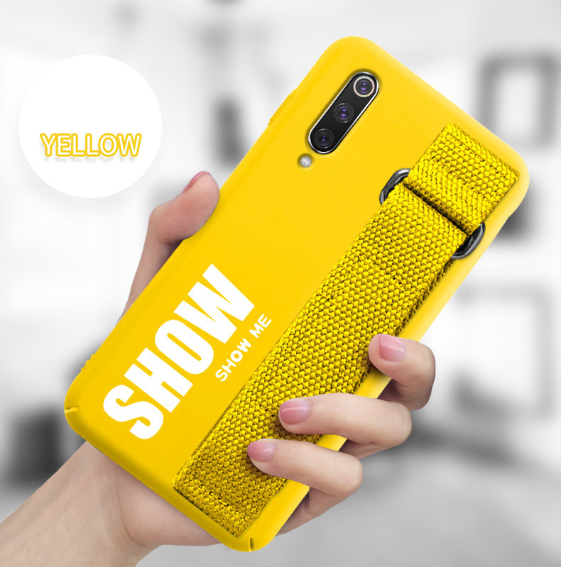 For Xiaomi Mi 9T 9 SE 8 Lite Pro 6X A2 A1 Note 10 Max 3 Mix 2S CC9 Redmi K20 Poco X2 Case Silicon Matte Cover Hand Strap Funda