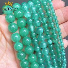Perles naturelles Jades vertes rondes perles de pierre en vrac pour la fabrication de bijoux bracelet à bricoler soi-même boucles d'oreilles accessoires de collier 15
