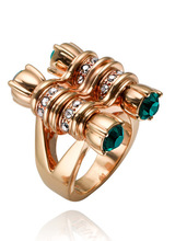 New Arrival Green Zircon Inlaid Rose Gold Vintage Women Finger Rings Luxury Jewelry Top Quality Wedding Engagement Party Ring