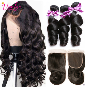 Vanlov Loose Wave Bundles With Closure Human Hair 3 Bundles With Lace Closure Brazilian Hair Weave Bundles Remy Hair Extension