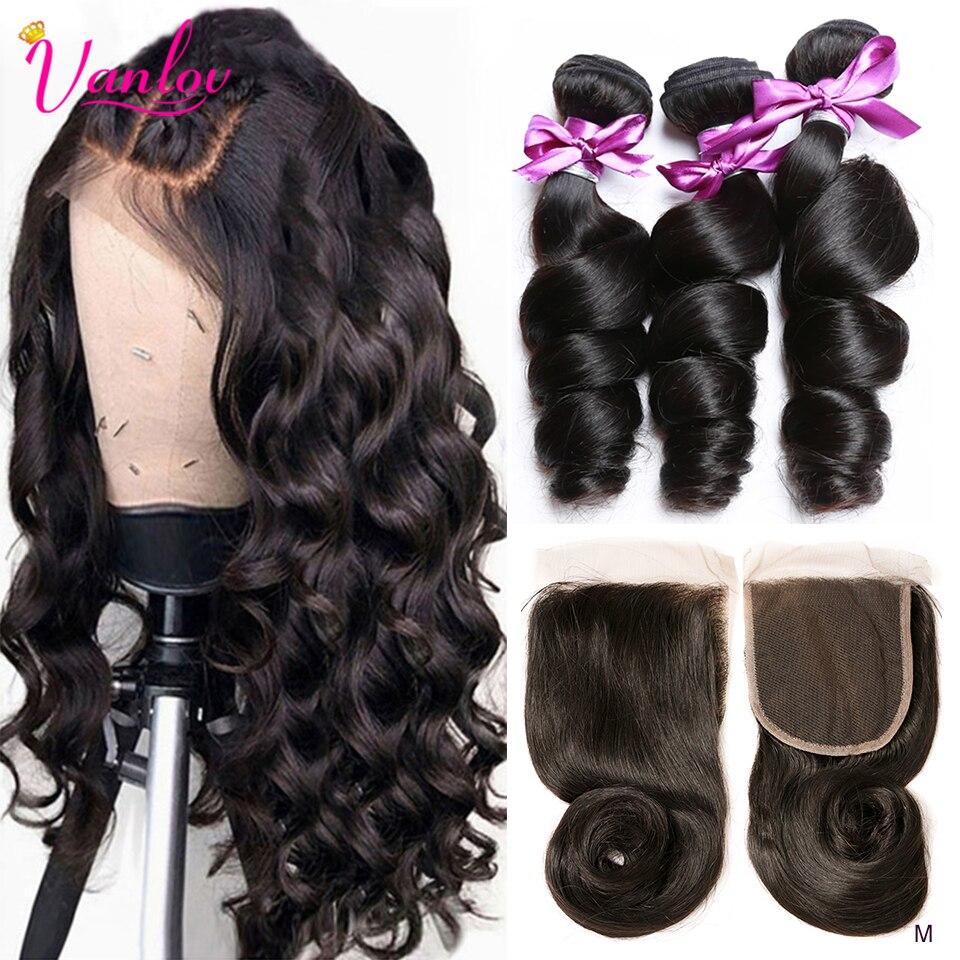 Wiązki falowanych Vanlov z zamknięciem ludzkie włosy 3 wiązki z zamknięcie koronki brazylijskie włosy wyplata wiązki Remy do przedłużania włosów