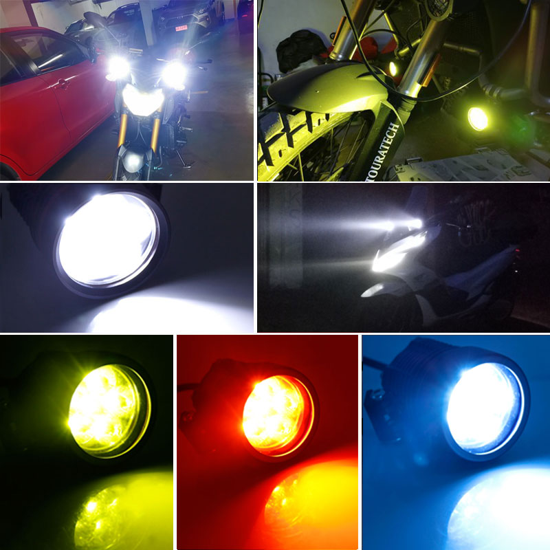 cheapest 1set Motorcycle spotlights Fog DRL lamp led glare waterproof flashing external  modification auxiliary 12V BMW rogue lights 60W