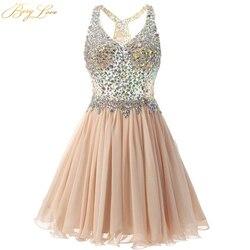 Короткое платье для выпускного вечера BeryLove, цвета шампанского, мини-платье с кристаллами, иллюзия, лиф, v-образный вырез, короткое платье, веч...
