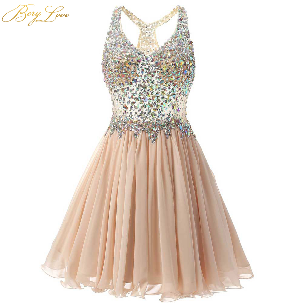 BeryLove Short Champagne Homecoming Dress 2020 Mini Crystal Illusion Bodice V Straps Short Gown Girl Party Prom Graduation Dress