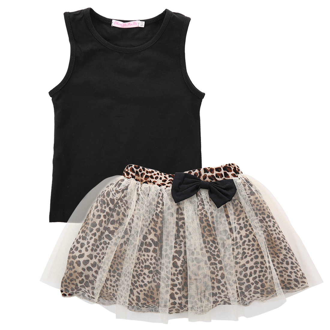 Emmababy Toddler Kids Baby Girl Black Tank Tops+Bow Mesh Leopard Skirts Sleeveless 2PCS Infant Girl Clothes 0-5 Years