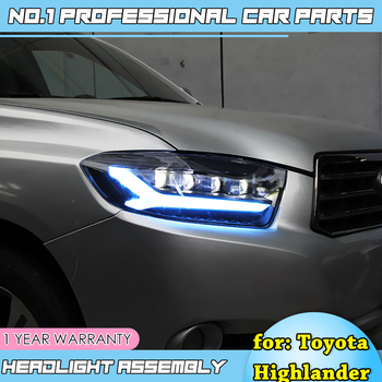 car accessories for-Toyota Highlander Headlights 2009-2011Highlander LED Headlight DRL Lens Double Beam HID Xenon bi xenon lens