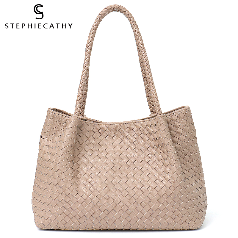 SC Women Vegan Leather Shoulder Tote Handbag Female Large High Quality Handmade Woven Ladies Shoulder Top-handle Bag With Purse