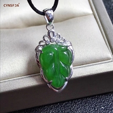 CYNSFJA Real Certified Natural Hetian Jasper 925 Sterling Silver Fine Jewelry Amulet Leaf Jade Pendants  High Quality Best Gifts