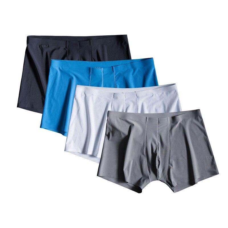 4pcs/lot Seamless Men Boxers Luxury Silk Antibacterial Boxers Underwear Spandex 3D Crotch Boxer Nylon Underwear Shorts Slips