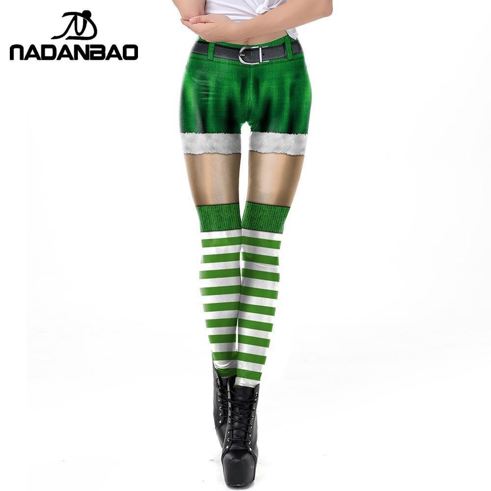 NADANBAO Saint Patrick's Day Leggings For Women Carnaval Costume Belts Bulb Printed Pants Christmas Leggins Women Gift