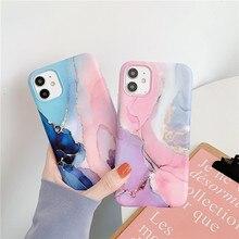 USLION Per il iPhone 11 12 Pro Max X Xs Max XR Colorful Pietra di Marmo Modello TPU Della Copertura Posteriore Per iPhone 12 Mini 7 8 Più