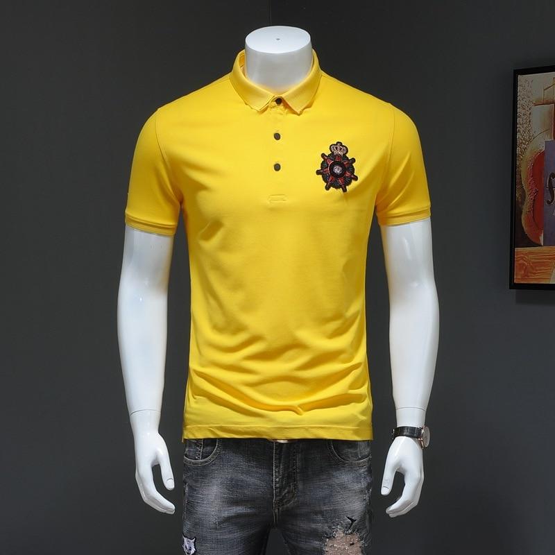 2019 High Quality Crown Embroidery   Polo   Shirt Fashion Pattern Slim Cotton Streetwear Short Sleeve Yellow   Polo   Shirts Men 0085QT