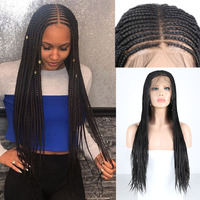 RONGDUOYI Long Deep Part 13X6 Lace Wig Black Hair Synthetic Lace Front Wigs for Women Heat Resistant Hair Braided Box Braids Wig