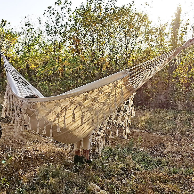 Double Boho Tassel Nest Hammock Swing Chair Outdoor/Indoor Picnic Garden Macrame Brazilian Hammock Hanging Net Chair Swings