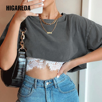 HIGAREDA Patchwork Lace Casual Loose Crop Top T Shirt Fashion Solid Short Sleeve T-shirt Women Summer Streetwear Cotton Tops summer tops for women fashion t shirt with sequins loose t shirt short sleeve casual fashion shiny tops