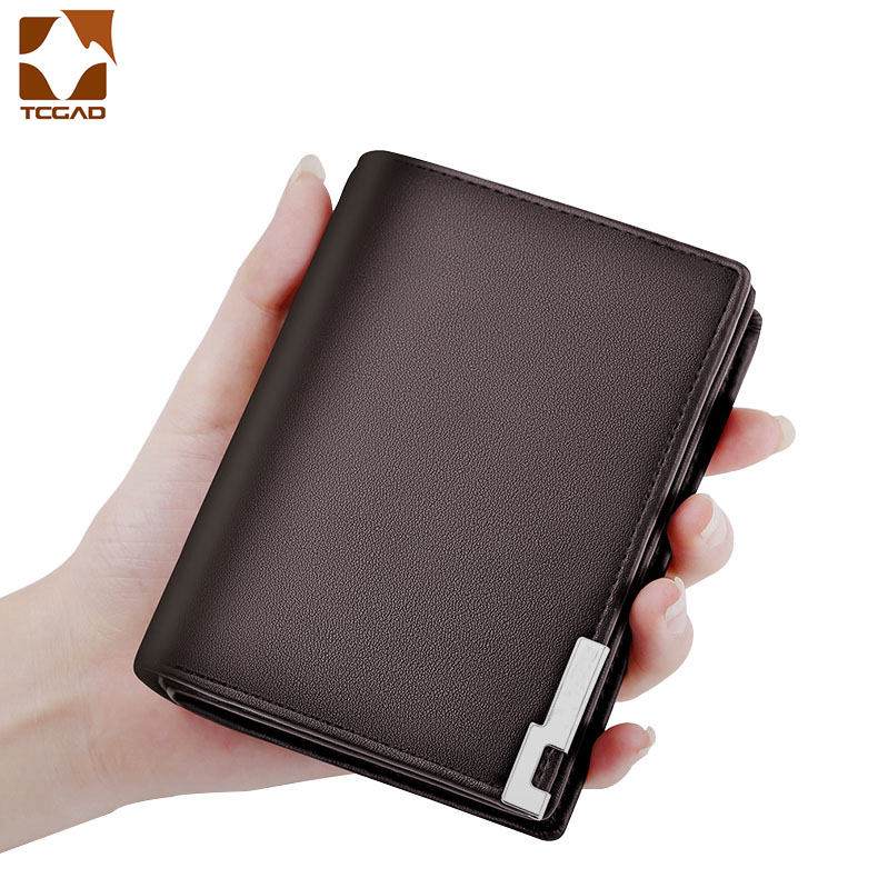 Men Wallets Mini Slim Wallet Male Partmon Casual Leather PU Portfel Purse  Metal Edge Portafoglio Uomo Thin Small Men's Wallet