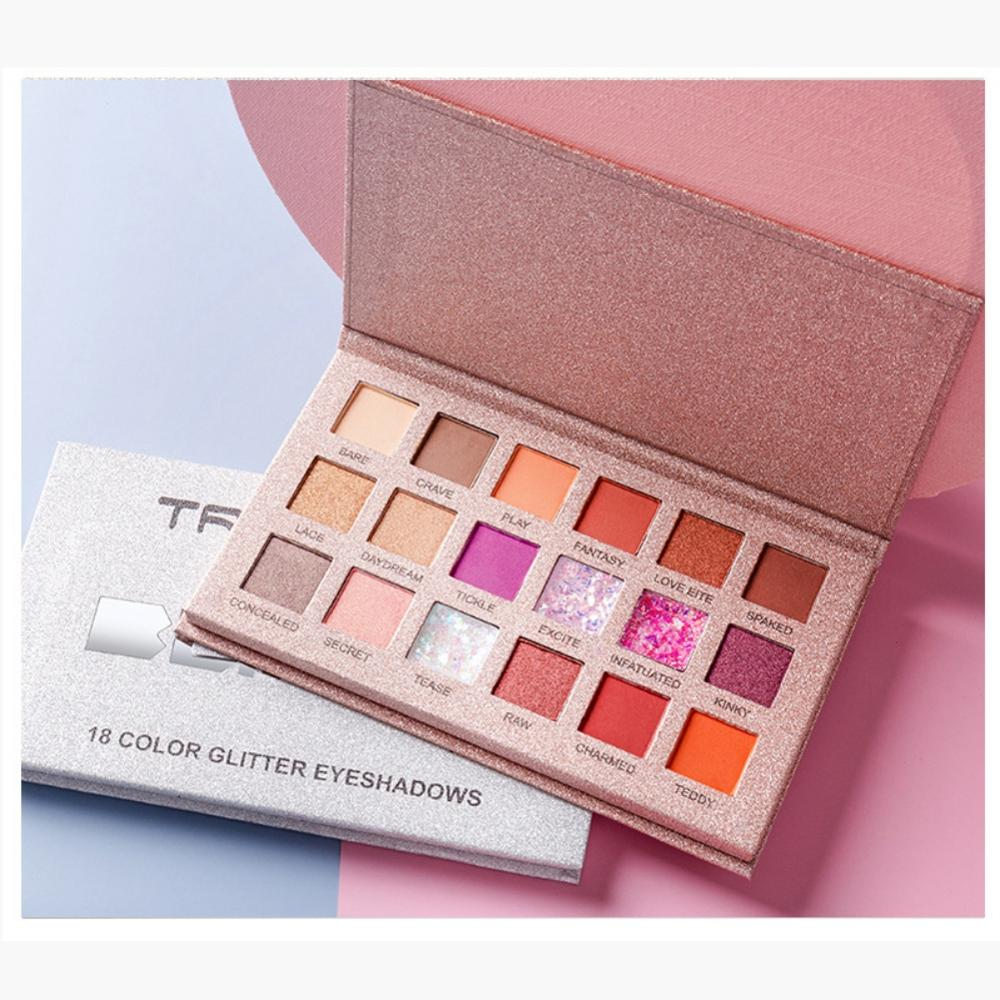 <font><b>18</b></font> Colors Matte Eyeshadow Palette Lasting Waterproof Colorfast Shimmer Eye Shadow Pearlescent Charming image
