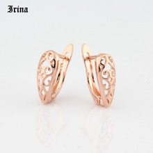 Good Quality New Hollow Design Retro Style 585 Rose Gold Color  Hollow Hoop Earrings Fashion Party Costume Jewelry for Women Gir